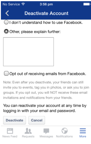 How to Deactivate My Facebook Account on iPhone