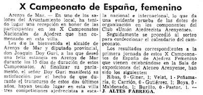 X Campeonato de España Femenino 1967, recorte en La Vanguardia