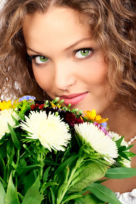 Girl with Flowers Image