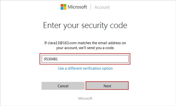 enter security code to verify Microsoft account