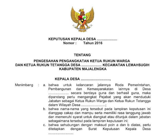 Contoh Sk Rukun Warga Dan Rukun Tetangga Rtrw
