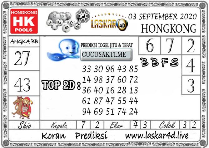 Prediksi Togel HONGKONG LASKAR4D 03 SEPTEMBER 2020