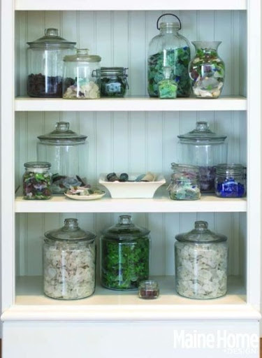 Seaglass Display in Glass Jars