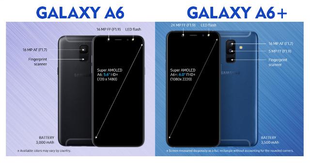 samsung galaxy a6 dan a6+, galaxy a6 dan a6+