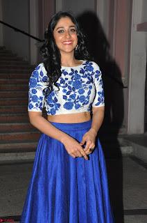 Regina Casandra in Stunning White Embroidery Crop Top Choli and Blue Ghagra at Santosham awards 2017 curtain raiser press meet 02.08.2017 020.JPG