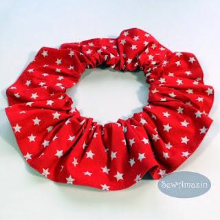 Red White Stars Dog Scrunchie Ruffle