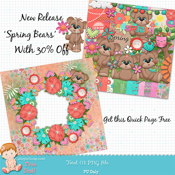 Free Quick Page -Spring Bears-Free Digital Scrapbook Page
