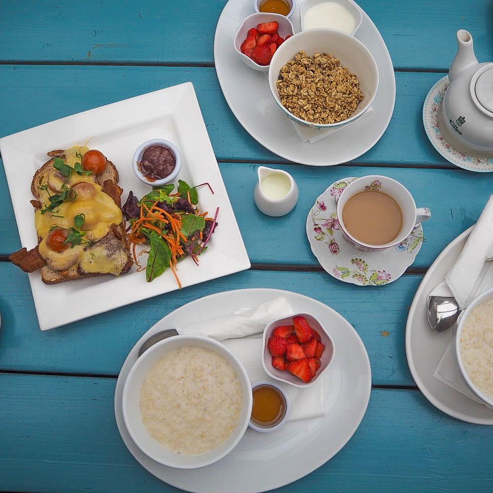 Rarebit, porridge and granola at Tramyard Cafe, Dalkey, Dublin