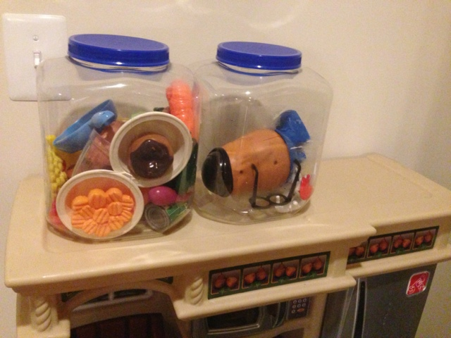 Reuse large containers for children's toys.