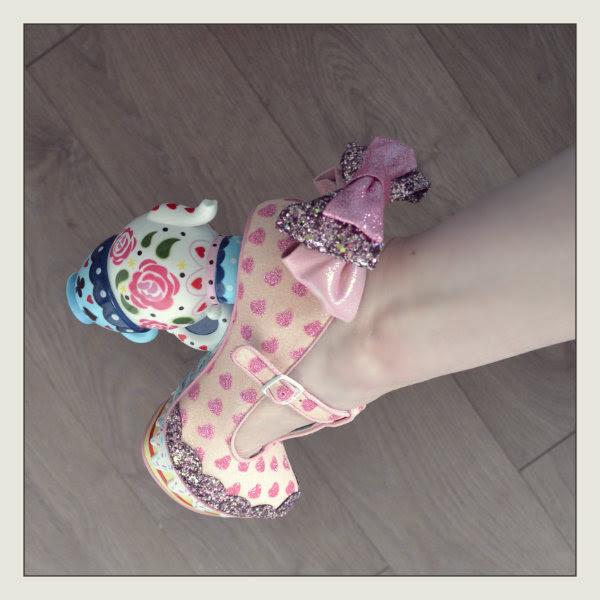 wearing irregular choice my cup of tea heel detail