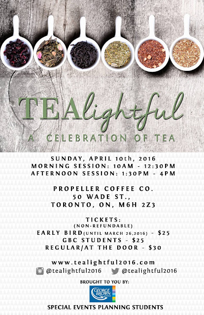 Irresistible Tea Fundraiser for George Brown College  and Nanny Angel Network on April 10 First of there are two sessions : 10am till 12:30pm  and 1:30pm till 4pm.  Attendees have a wide arrange of things to check out! There will be plenty of tea and food samples, but also some workshops, tea leaf readings, photo booth, live entertainment, raffle and more.