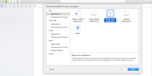 Select Single view application template