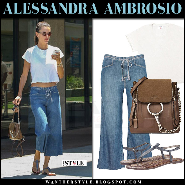 Alessandra Ambrosio in white tee redone and wide leg cropped jeans paige denim lori july 22 2017 celebrity style what she wore