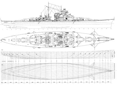 WW2 Battle of the Atlantic - Famous Battleships - DKM Bismarck Blueprint and Specifications