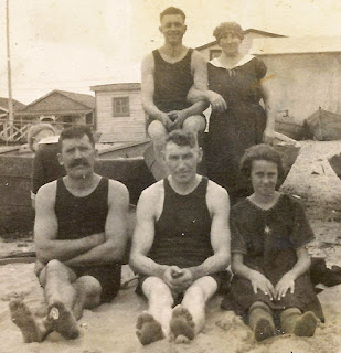 Closer view of the original image of the Karvoius family at the beach. 1920's