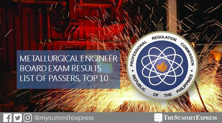 FULL RESULTS: October 2017 Metallurgical Engineer board exam passers, top 10