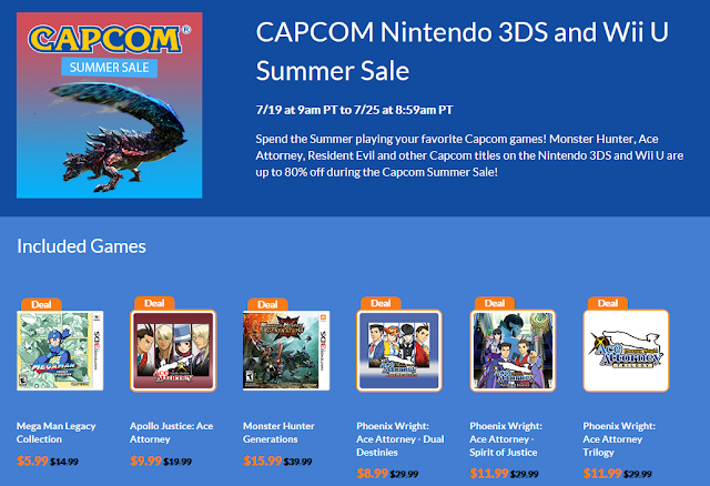 CAPCOM Summer Sale 2018 Nintendo 3DS eShop Phoenix Wright Apollo Justice Ace Attorney Dual Destinies Spirit of Justice Trilogy