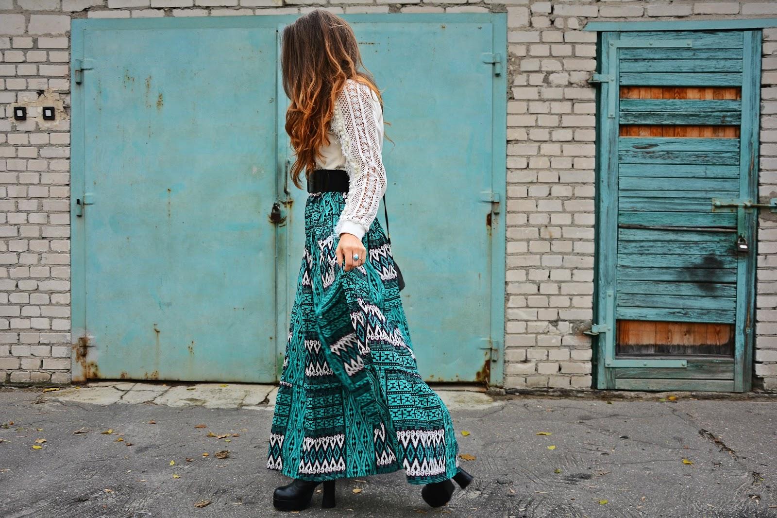 Ombre hair, aztec skirt