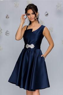 Rochie de Nunta MBG din tafta bleumarin cu detaliu in talie