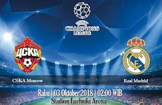 Prediksi CSKA Moscow vs Real Madrid 3 Oktober 2018