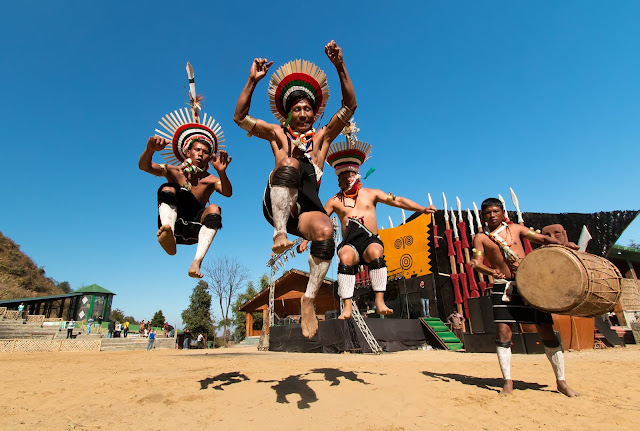 A Naga Group Performing War Dance at Hornbill Festival