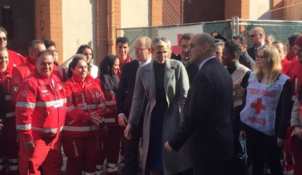 Prince Albert II of Monaco, his wife Princess Charlene of Monaco and President of Red Cross of Monaco met with the refugees seeking asylum