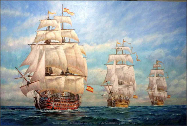 Pintura al óleo navíos españaoles Santísima  Trinidad y Nepomuceno obra de armina