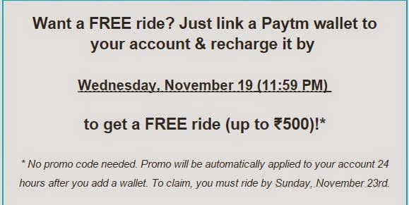 Uber Wallet gets you a FREE Ride upto Rs 500
