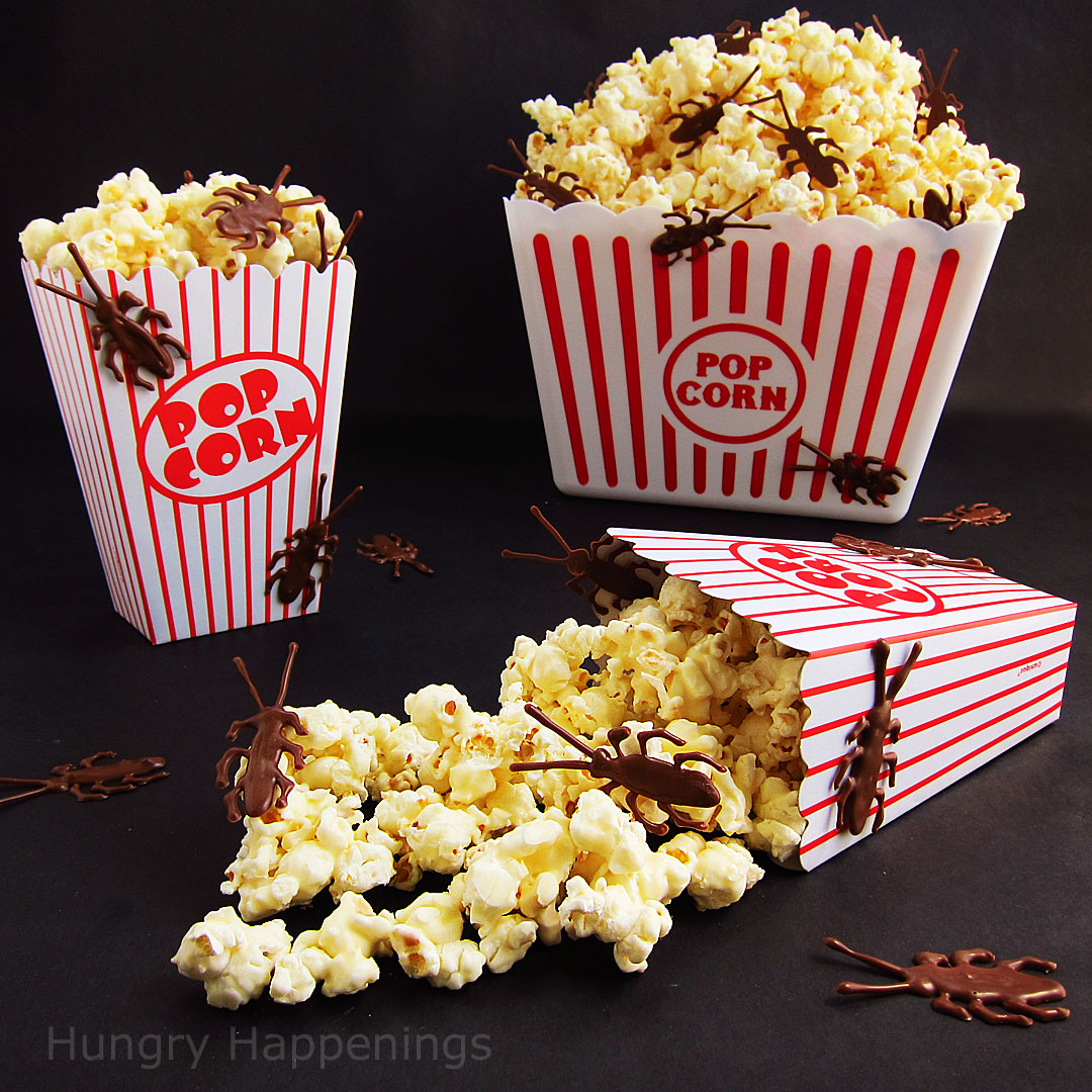 White Chocolate Popcorn Infested With Milk Chocolate Roaches