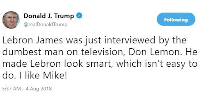 """With one tweet, President Trump calls CNN""""s Don Lemon """"the dumbest man on television"""" and suggests Lebron James Isn't """"smart"""""""