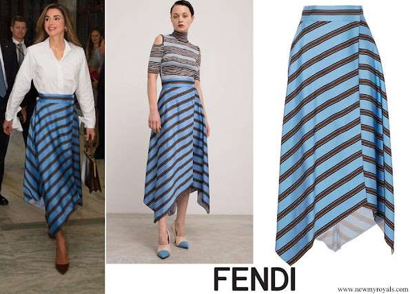 Queen Rania wore a striped satin wrap midi skirt by FENDI