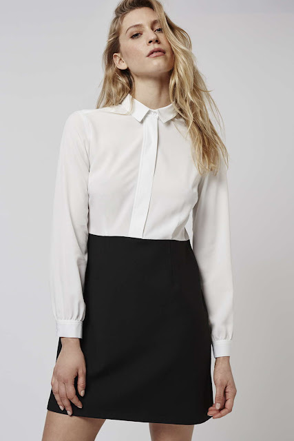 hybrid dress, two in one dress, white shirt black skirt dress,