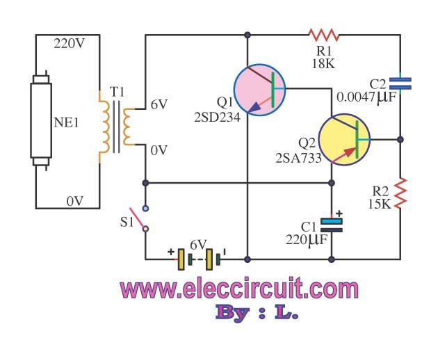 Kumpulan Rangkaian Lampu Emergency Neon atau Fluorescent  Cara Tekno
