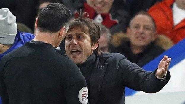 Frustrated Conte sent off during Chelsea 1-0 win over Swansea