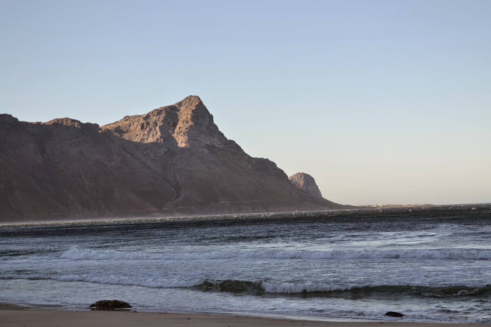 Early morning beach and mountain scene