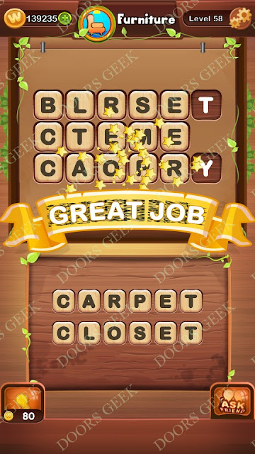 Word Bright Level 58 Answers, Cheats, Solutions, Walkthrough for android, iphone, ipad and ipod