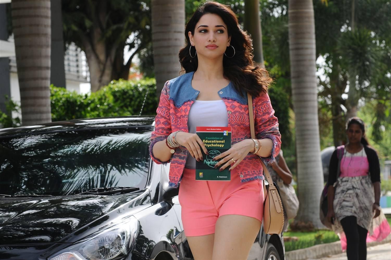 Actress Tamannaah Legs Thigh In Pink Mini Short
