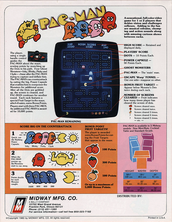 Pac-Man advertising (Midway) back