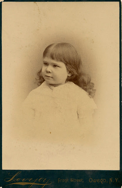Lena E. MacKenzie. Photo taken at Lovejoy Studios, Front Street, Owego, NY. Probably around 1890?