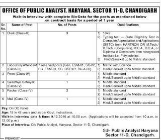 Haryana Public Analyst Office Recruitment 2016