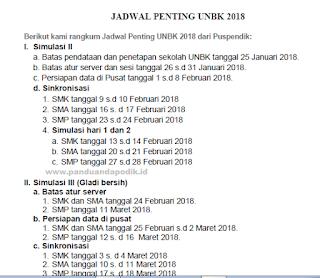 Jadwal Penting Terkait Pelaksanaan UNBK Tahun 2018