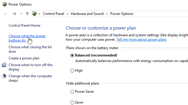 Choose what the power buttons do