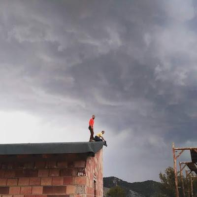 antes de llover, camping, Beceite, tormenta, aparato eléctrico