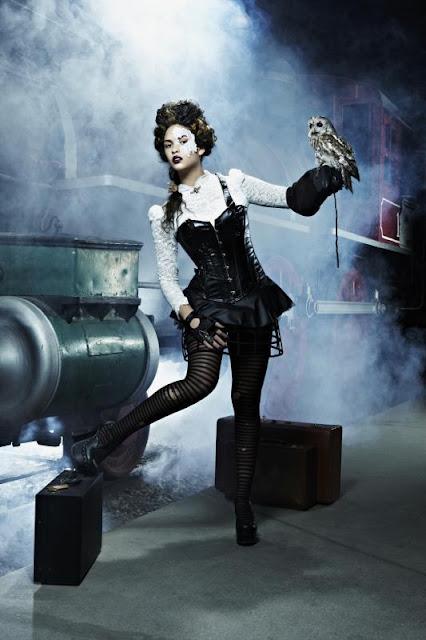 steampunk cyberpunk dieselpunk ANTM clothing costume fashion lace mask
