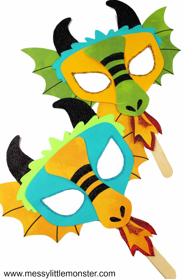 Dragon craft for kids. Chinese dragon mask.