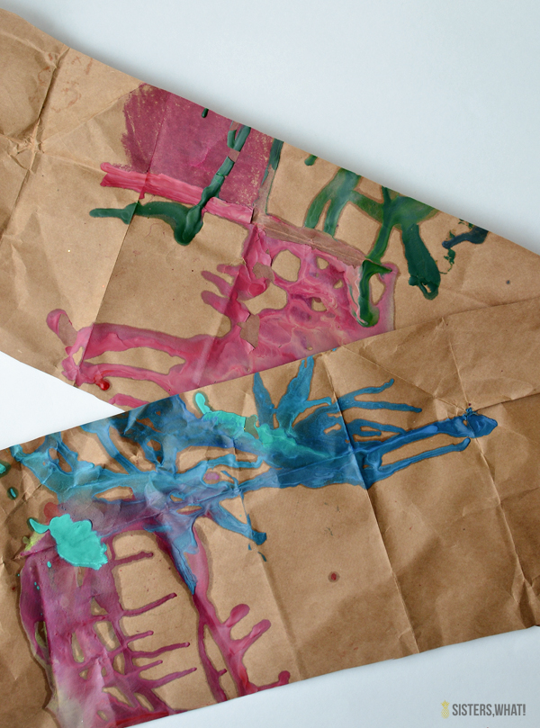 melted crayons on brown paper to make wrapping paper
