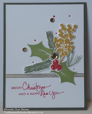 Handmade Christmas New Year Card using PapertrayInk Spruce and Springs set