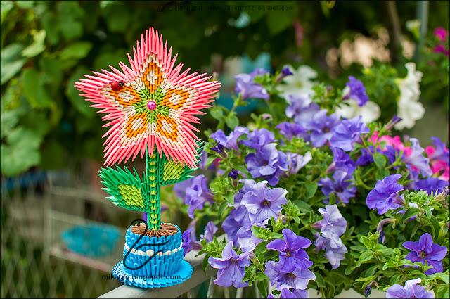 579. Kwiat w doniczce z origami / 3d origami flower
