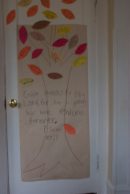 Thankfulness Tree to welcome visitors-The Unlikely Homeschool