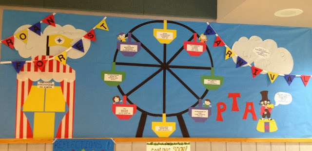 bulletin board idea for Fall school carnival